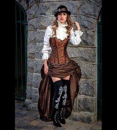 Steampunk braun Korsett w / braun treiben Rock von MajesticVelvets
