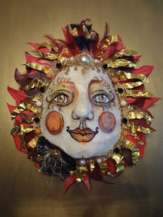 Mixed Media Sun Art Mask  SOL INVICTUS by faeriewickets on Etsy, $125.00