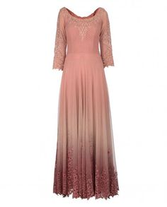 Vintage Pink and Ombre Peach Anarkali Suit