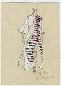 Chalayan depicted by Jenifer Corker. Sewn renderings.
