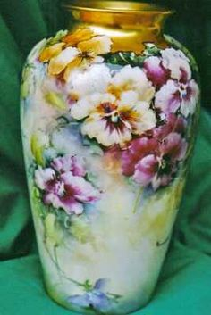 China painting study for pansies on a porcelain vase by porcelain artist and teacher, Phyllis McElhinney