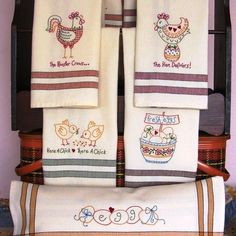 Tea Towels with Whimsical Chicken Designs to Machine Embroider on Striped Tea Towels