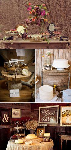 Decoración de mesas de postres para bodas en el campo