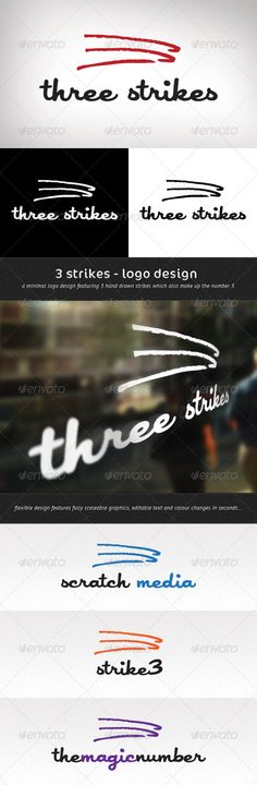 3 Strikes Logo Template by wattscreative What鈥檚 the concept? The 3 Strikes logo has been designed to be as flexible as possible and could be used in a large variety of wa Logo Design Template, Logo Templates, Best Logo Design, Design Logos, Graphic Design, 3 Strikes, Brand Assets, Hand Drawn Logo, Information Graphics