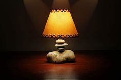 "Small Stone Desk Lamp w/9"" Parchment Shade    http://www.clearwatercabinliving.com"