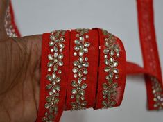 Inch wide Kundan Trim in Red and Gold Embroidery designer Fabric Trims on Red Color Silk fabric Wholesale Red Kundan Saree Border Fabric Trim By 9 Yard Laces and Trims Indian Embroidered Wholesale Trimmings Ribbon Indian Sari Border Hand Work Embroidery, Gold Embroidery, Embroidered Lace Fabric, Brocade Fabric, Beautiful Bridal Dresses, Wedding Dresses, Lace Wedding, Thread Bangles, Fashion Tape