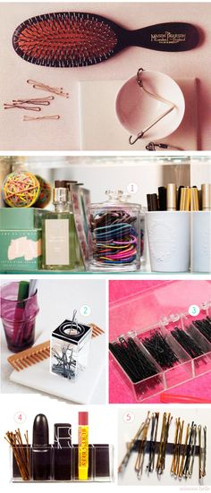 Beautifully organized bobby pins & hair elastics