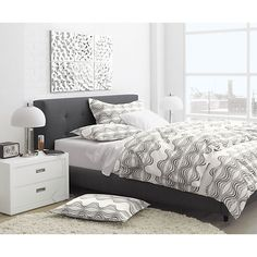 Crate and Barrel Tate Bed - charcoal grey with white nightstands