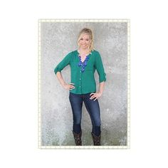 LOVE this top! Pair with dark jeans, riding boots, and our royal blue bubble necklace for the perfect look.
