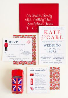 London inspired wedding invitation suite.  A little over-themed for me, but still love it :)