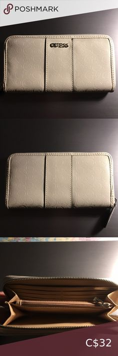 Guess wallet Contains: 6 card slots, 2 bill pockets, and 1 zip pouch. No tags. x x Guess Bags Wallets 2 Bill, Guess Bags, Continental Wallet, Wallets, Zip Around Wallet, Pouch, Buy And Sell, Pockets, Tags