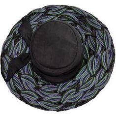 "Schiaparelli Paris 1960s Vintage Hat Straw Raw Silk 23"""