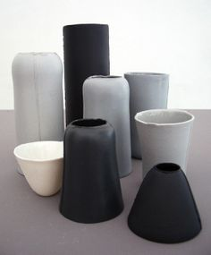 Alexa Lixfeld has created these porcelain products: handmade tableware, vessels and vases from solid coloured porcelain, matt polished on the outside, glazed on the inside.