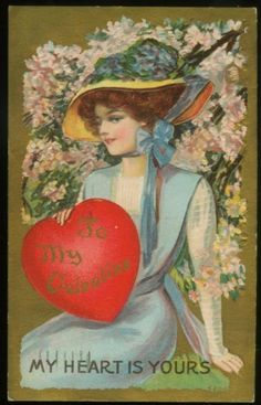 Antique Valentine Postcard mailed in 1910 - a beautiful woman in fashionable hat!