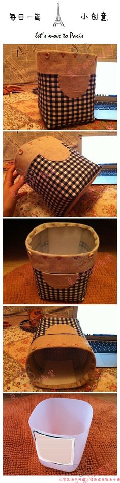 [DIY storage barrels] big bottle of mineral water...not sure about the fabric....would be totally cute, with a more updated fabrics