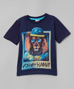 Another great find on #zulily! Navy 'King of Summer' Lion Tee - Infant, Toddler & Boys #zulilyfinds