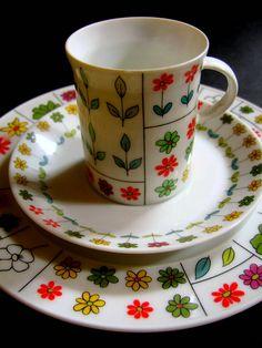 ♥♥♥ 1960s/70s Rosenthal 'Piemonte' coffee trio; Form design: Hans-Theo Baumann; Pattern design: Emilio Pucci