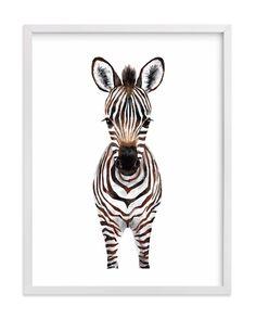 ILLUSTRATION Baby Zebra 2 Kids Open Edition Non-custom Art Print by Cass Loh. Kids Canvas Art, Art Wall Kids, Canvas Art Prints, Fine Art Prints, Art Kids, Canvas Frame, Wood Canvas, Zebra Kunst, Zebra Art