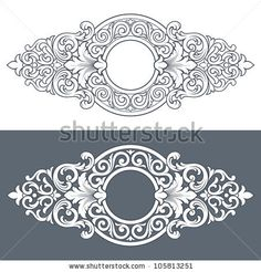 vintage border frame engraving with retro ornament filigree pattern in antique baroque style decorative design isolated on white background by HiSunnySky, via ShutterStock