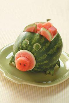 fun food pig watermelon wassermelone buffet sommer summer animal kids
