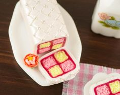 Spring Battenberg Cake - 1:12 Dollhouse Miniature