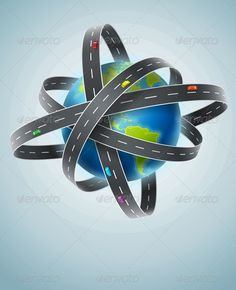 World Planet Circled by Net of Roads