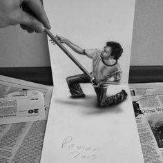 Des dessins au crayon en relief