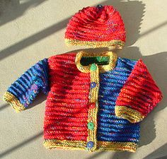Ravelry: Color Block Baby Cardigan and Hat pattern by JoAnne Turcotte