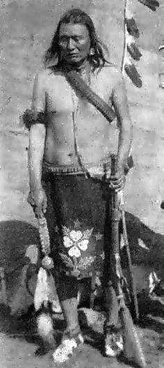 """Yellow Wolf 1856-1935 Born in 1856 in Nez Percè tribe, """"Wal Lam Wat Kin"""" band, nephew of Chief Joseph. Indian's name: HEMENE MOXMOX. He has become famous in 1877 war. Always present in every battle, he was one of more daring and combative warriors. In June 1878 he surrended. He died in 21 August 1935 in Nespelem (Washington) and buried near the great uncle. In the first years of 1900 he dictated his memories to L. McWhorter, that wrote a famous book printed first time in 1940."""