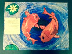 Koi pond painting using watercolors for my son's 3rd grade arts attack class.