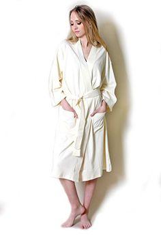 e252c5ba64 100% ORGANIC COTTON Spa Bath Robe Kimono-Super Soft Luxurious Lightweight  Non-Toxic Eco-Friendly Hypoallergenic at Amazon Women s Clothing store