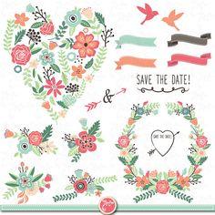 "Wedding Clipart pack ""WEDDING FLORA"" clip art pack Vintage Flowers,Floral Frames,Wreath,Wedding invitation,Instant Download Wd004 ."