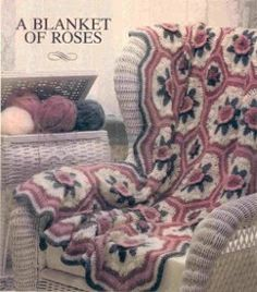 This free #crochet afghan pattern is from 1984, but A Blanket of Roses Afghan is timeless. Add a touch of femininity to your decor with this free crochet afghan pattern.