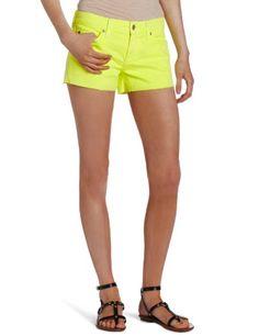 7 For All Mankind Women's Cut-Off Denim Short in Neon Citron, Neon Citron, 24