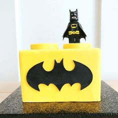 """"""" Our Lego® Batman cake is covered in our homemade marshmallow coating over Home Bakery buttercream and includes a Batman Logo. Lego Batman Figures, Lego Batman Cakes, Lego Batman Birthday, Batman Party, Lego Cake, Kids Birthday Themes, Boy Birthday, Bolo Lego, Avenger Cake"""