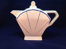 French Art Deco Teapot, Fan design Blue on White