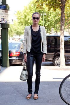 Leather leggings dressed down with leopard flats a simple tee and what looks like a a Zara blazer