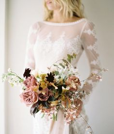 "- Once Wed (@oncewed) on Instagram: ""Organic movement, depth of color, and unique textures add up to one of our favorite bouquets. Visit…"""