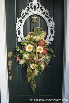 A Late Summer Door Wreath designed around a picture frame