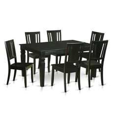 WEDU7-BLK Kitchen Dinette Table and 6 Chairs