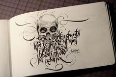 Calligraphi.ca - theosone code script and skull - rotring artpen calligraphy and F in moleskine - Theosone