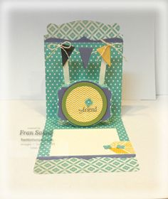 made with the Afternoon Picnic Designer Series paper, Oh Hello stamp set and the Pop N Cuts base and Label insert.