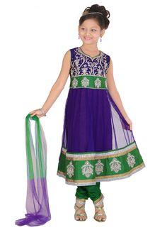 Striking Violet Net Anarkali Suit | Kids Wear Girls | www.cbazaar.in kdmom490 Rs. 3375/-