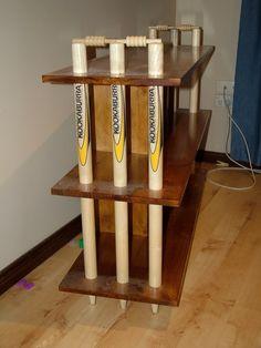Homemade cricket bookshelf with stumps