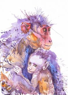Monkey with baby , watercolor, wildlife,   wall decor,  animal art, art print, nursery decor, mothers day gift, children art, Illustration