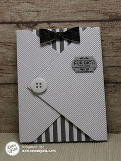 Envelope Punch Board: Gutschein für den Mann - Doris stempelt in Handewitt Masculine Birthday Cards, Birthday Cards For Men, Handmade Birthday Cards, Masculine Cards, Greeting Cards Handmade, Karten Diy, Envelope Punch Board, Boy Cards, Quilling Cards