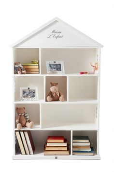 This delightful cabinet of recycled hardwood might be called My First Book Cabinet, but in addition to being a book cabinet this 'house' will naturally inspire your children to do so much more. Book Cabinet, Princess Room, Little Girl Rooms, Hardwood, Bookcase, Study, Shelves, Living Room, Modern