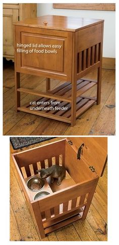 The perfect solution to dog living with cats.  This would work perfect for both feeding and a litter box.