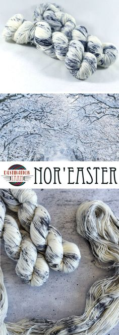 Nor'Easter is inspired by the snowy landscapes of winter.  White with black and gray speckles, this colorway works up beautifully! Fingering/sock weight yarn for knitting, crochet, looming projects, or DIY crafts!