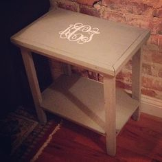 """""""Free"""" side table from the side of the street + Annie Sloan chalk paint in French Linen + monogram = perfection"""